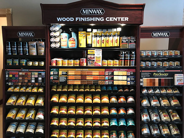 Minwax wood finishing products in store